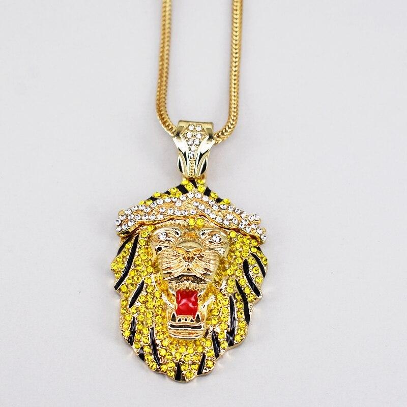 gold punk crystal lion choker necklace men women sport jewelry