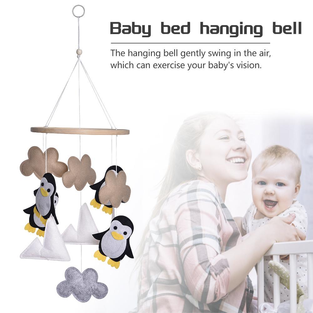 Campana para cama de bebé, colgante de fieltro con dibujos de nubes, pingüino, colgante para cuna, decoración para habitación, cómoda cama de bebé, carillón de viento