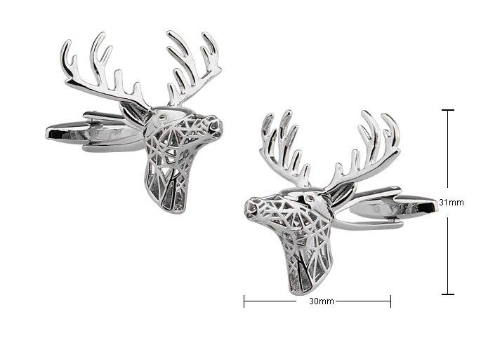 Gemelos de diseño de animales de ciervos para hombres de calidad de cobre Material plata Color gemelos al por mayor y al por menor