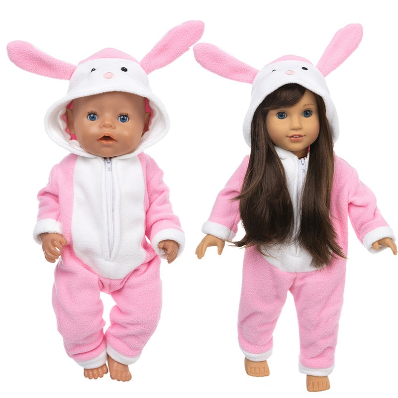 Bebê nascido boneca rosa coelho macacão conjunto 40cm nenuco ropa y su hermanita 18 polegada menina roupas de boneca conjunto pijama