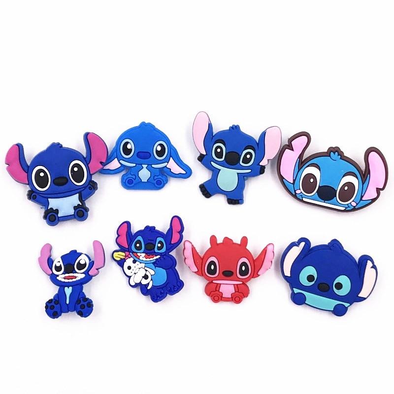 1 Uds dibujos animados Lilo & Stitch animales PVC iconos Kawaii monstruo broches mochila Pins DIY ropa Anime insignias regalos de fiesta para niños