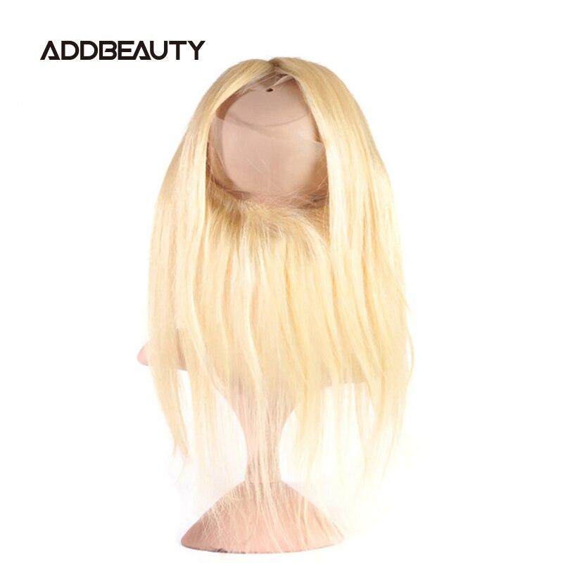 Em linha reta 360 fechamento do laço frontal brasileiro unproccessed raw virgem cabelo humano pré-arrancado cor loira 130% densidade