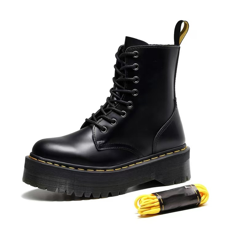 AliExpress - Leather Boots Martin Size34-45 Chunky Motorcycle Boots for Women Autumn 2021 Fashion Round Toe Combat Boots Ladies Shoes