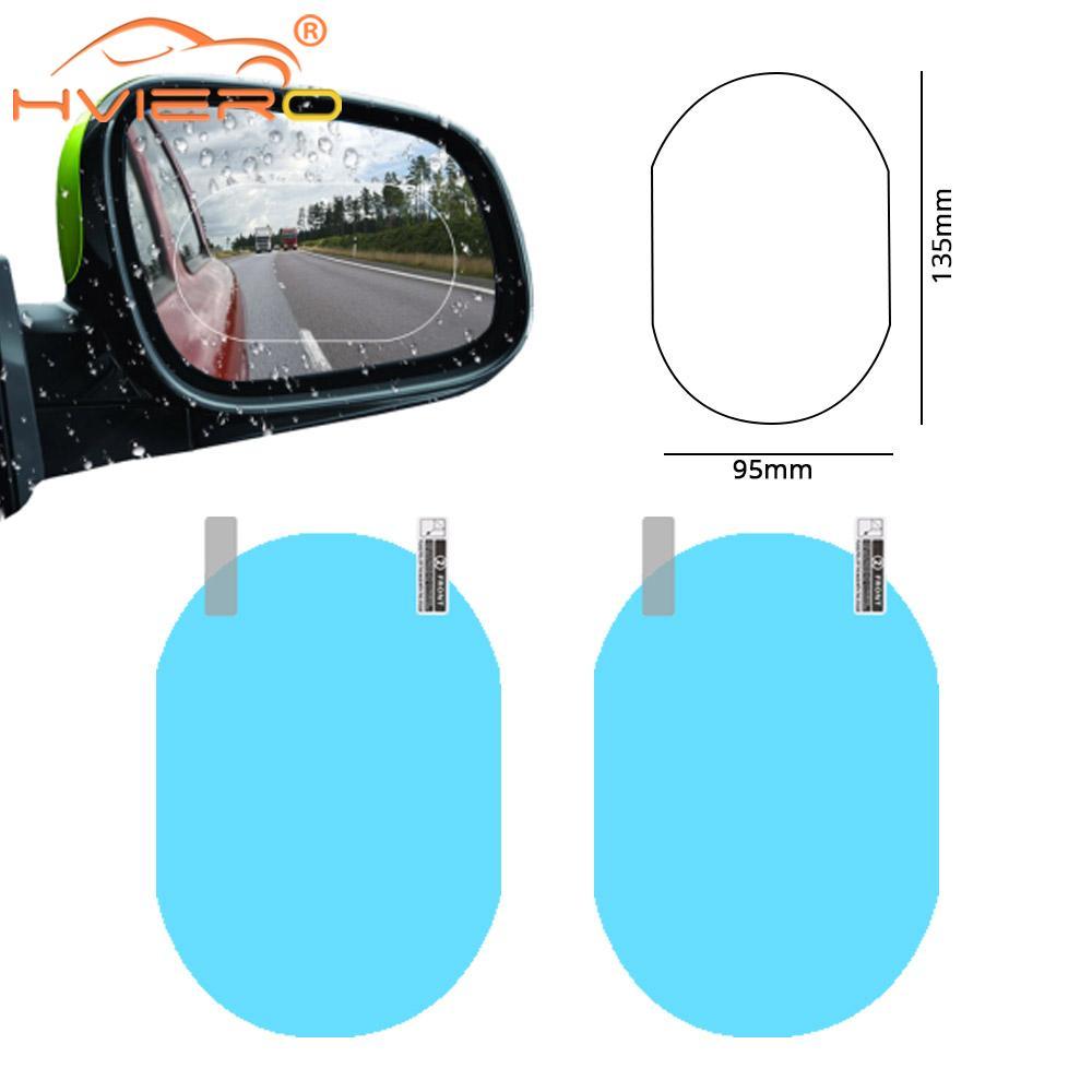 2x100*135 мм Автомобильная наклейка, непромокаемая пленка для автомобильного зеркала заднего вида, автомобильная пленка для зеркала заднего ви...