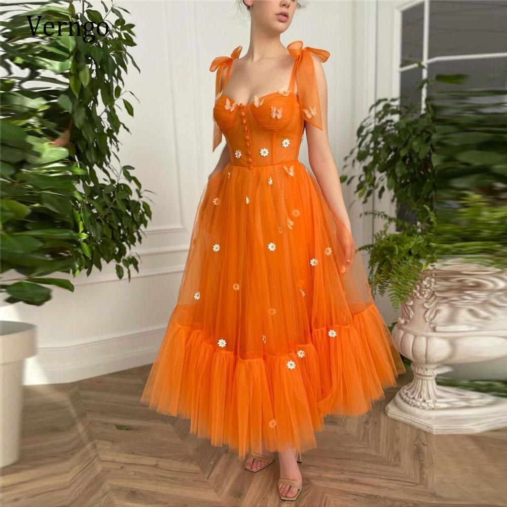 فستان سهرة من التول البرتقالي على شكل حرف A ، فستان سهرة ، أحزمة ، فيونكة ، أزرار ، أمامية ، طول الكاحل ، 2021