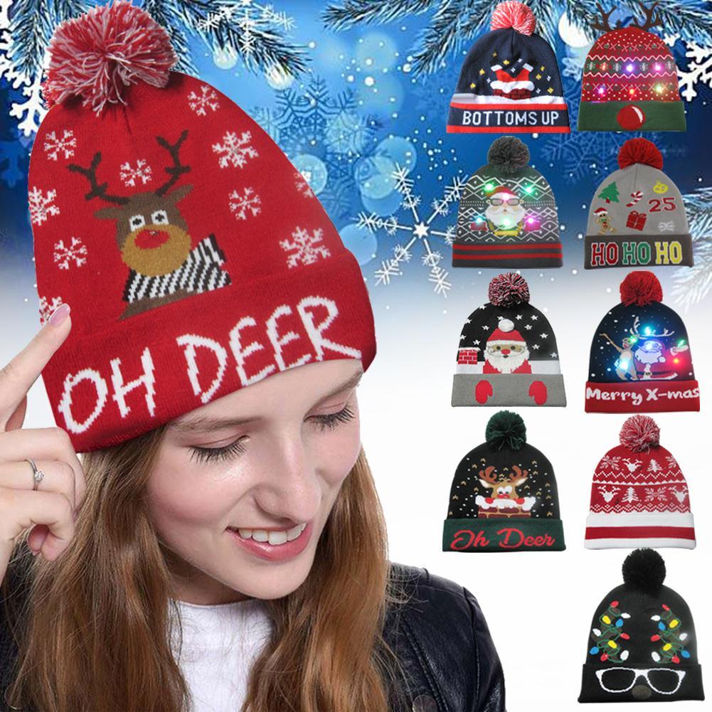 Gorros de invierno para mujer, coloridos gorros de punto con luz LED Feliz Navidad, gorros calientes para Navidad