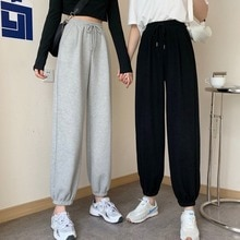 150 Little Sized Man High-Looking Casual plus Velvet Gray Sports Pants Female 145 Ankle-Tied Sweatpa