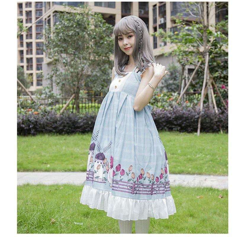 Princess tea party sweet lolita dress vintage falbala cute printing high waist victorian dress kawaii girl gothic lolita jsk cos