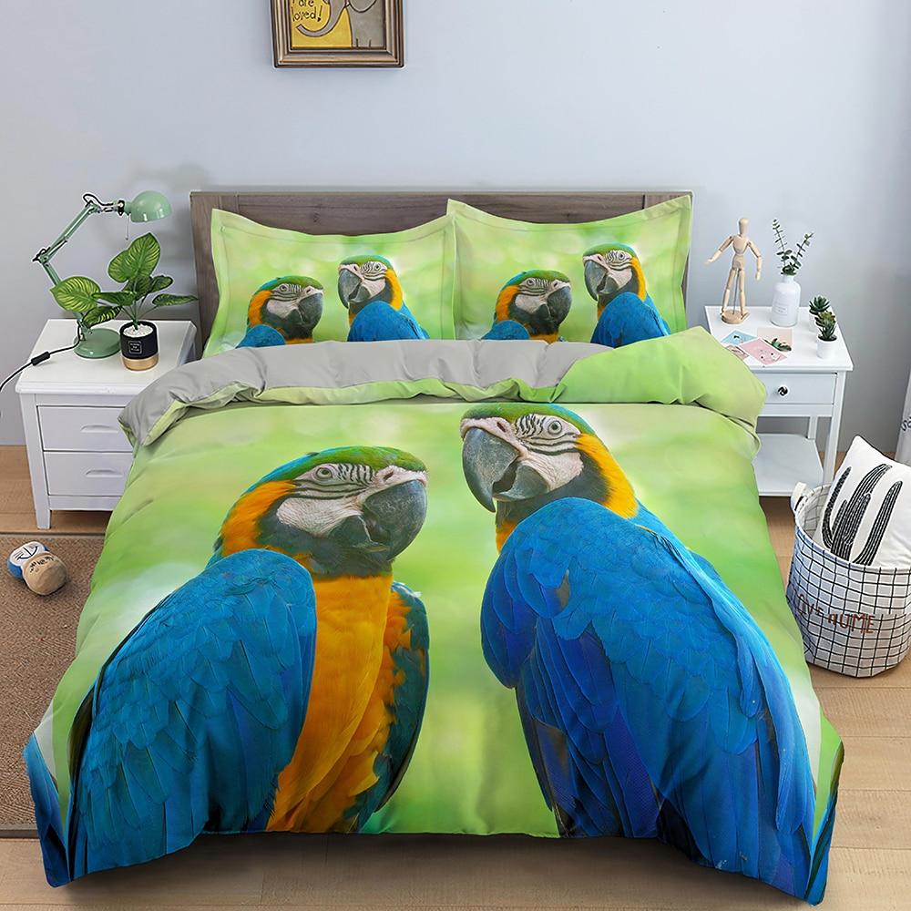 ثلاثية الأبعاد طقم سرير الحيوان الببغاء نمط حاف مجموعة غطاء لحاف غطاء مع المخدة الملك الملكة التوأم ديكور غرفة نوم فاخرة مفارش