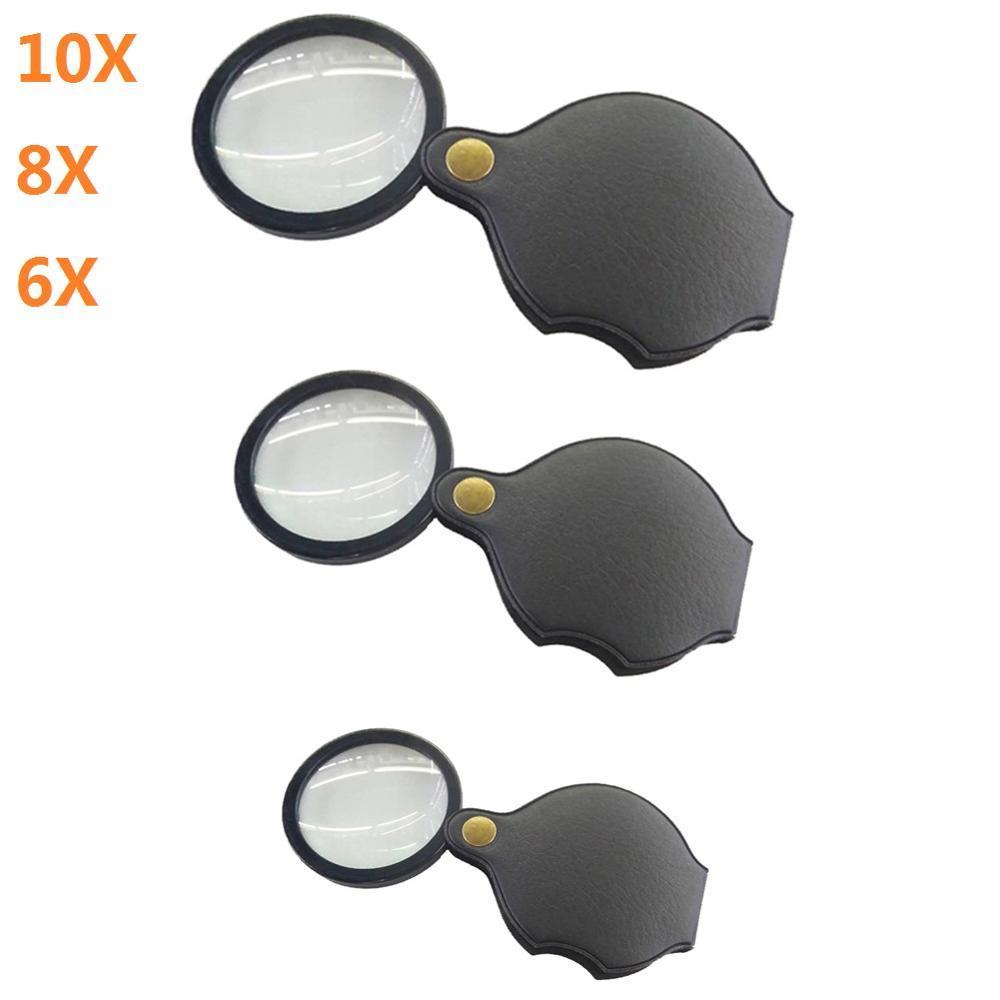 6X/8X/10X Mini Pocket Folding Magnifier Jewelry Magnifying Glass HD Eye Glass Loupe Glass Lens Porta