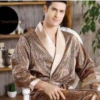 mens silk satin nightgown ice silk thin