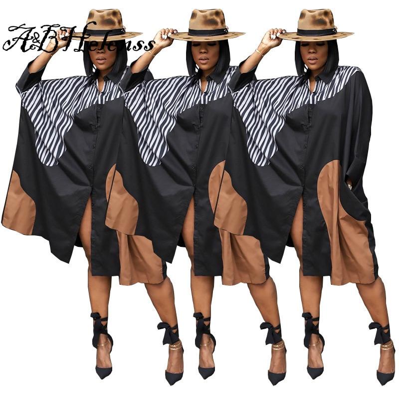 Summer Female Fashion Loose Dresses Casual Splicing Zebra Striped Long-sleeved Midi Dress