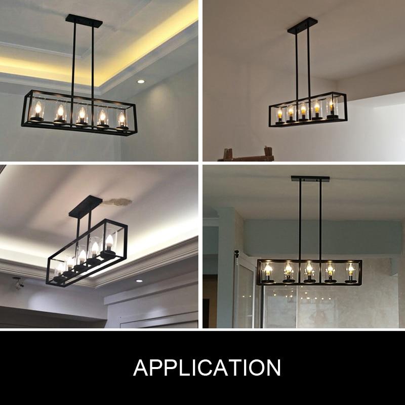 American Loft cuadrado marco LED colgante lámpara colgante hierro industria de vidrio Rectangular negro LED bombillas de vidrio AC