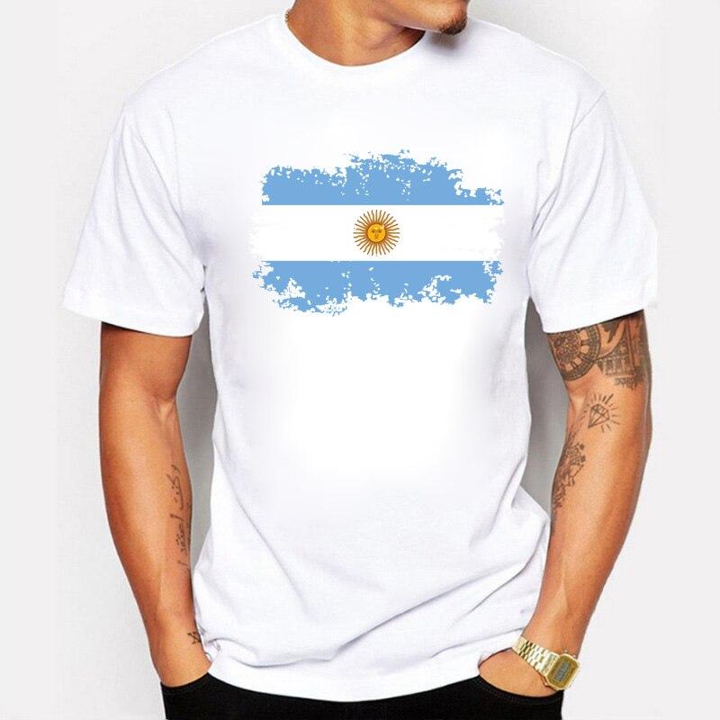 Camisetas con bandera nacional de Argentina, camisetas cortas, estilo nostálgico, camisetas de verano con estrellas, Maradona Messi, Fans, camisetas de animación para hombres