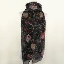 Sıcak satış hayvan baykuş eşarp moda viskon kafa bandı müslüman popüler şal kış ağacı baskı kuşlar eşarp şal