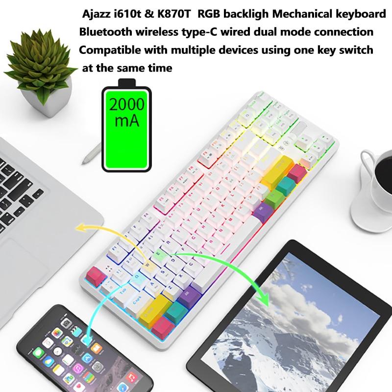 Teclado mecánico con Bluetooth inalámbrico de jazz k870t, modo dual RGB, 87 teclas, teléfono móvil, tableta, ordenador portátil, juego, oficina, MAC / win dual