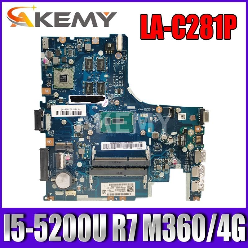 اللوحة الرئيسية Akemy LA-C281P لأجهزة الكمبيوتر المحمول Lenovo Notebook Z41-70 AIWZ0 / Z1 LA-C281P اللوحة الأم للكمبيوتر المحمول I5 5200U CPU R7 M360 4GB اختبار 100٪ DDR3
