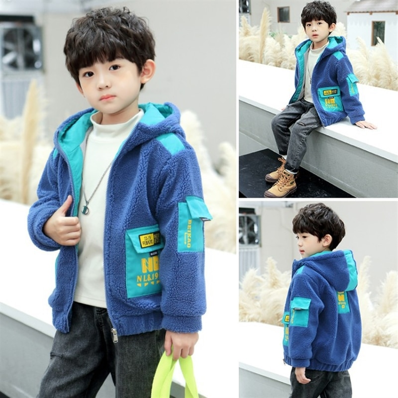 Boys furry sweater medium and large children fleece padded coat 2020 new autumn and winter Korean style casual boy trendy enlarge