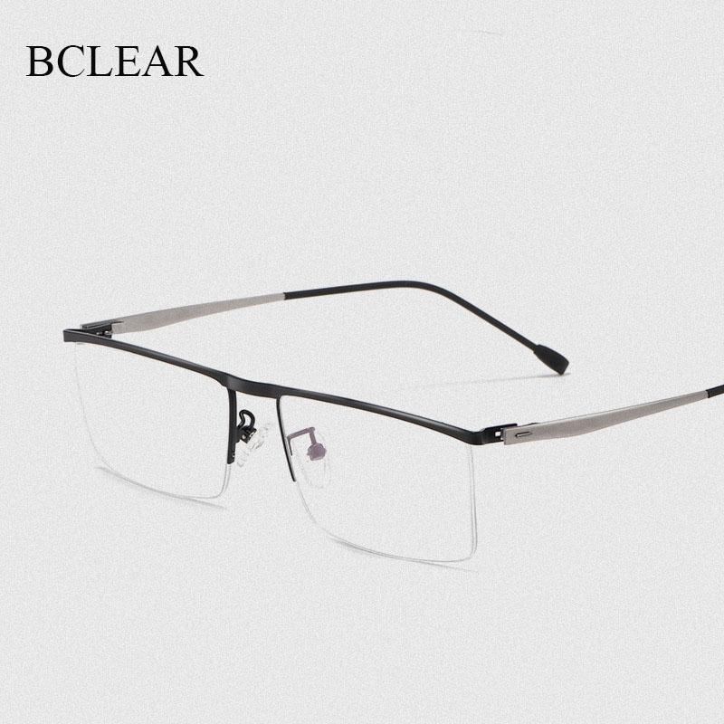 Montura de gafas ópticas de aleación de titanio para hombre, gafas de prescripción de miopía cuadradas ultraligeras, gafas de media llanta con bisagra de resorte