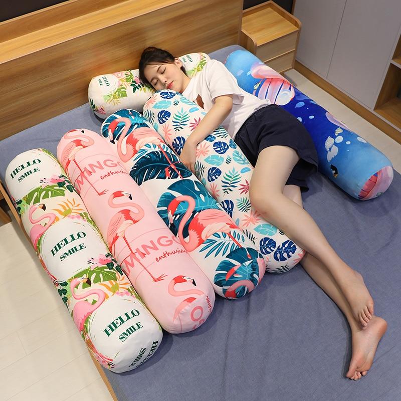 Almohada cilíndrica de moda con estampado de Flamenco de felpa, cojín redondo para dormir, novio, novia, almohadas de pierna, respaldo lavable HT