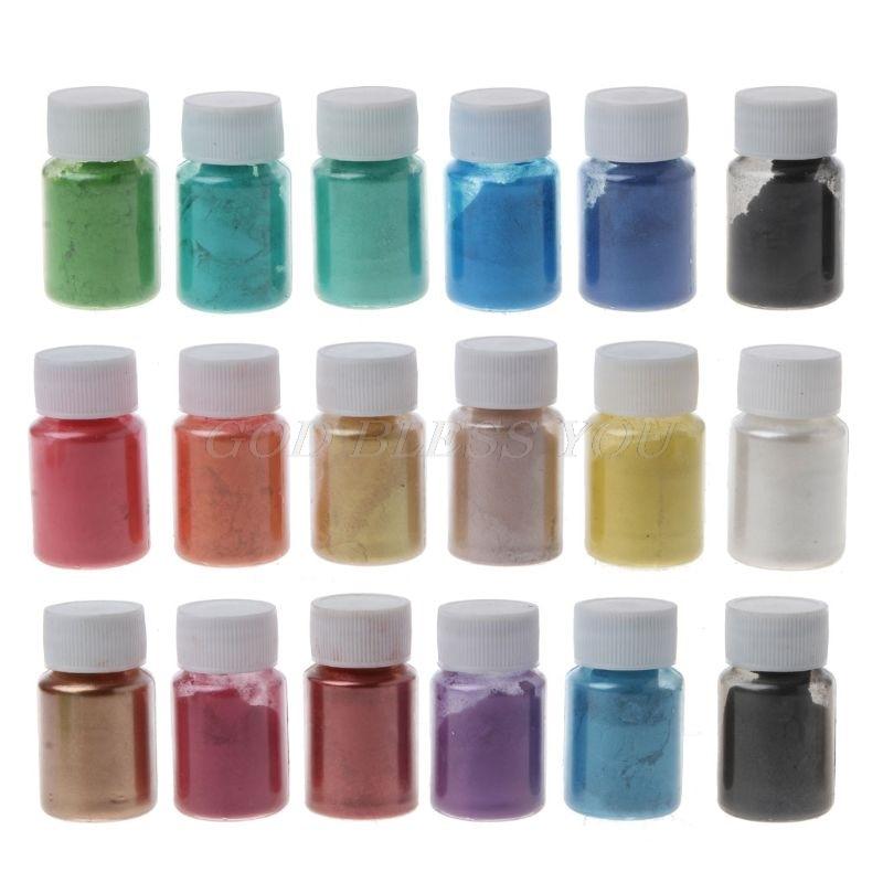 Jabón en polvo de Mica perlada, grado cosmético, 18 colores, arte para maquillaje, colorante de resina epoxi, pigmento de perla, fabricación de joyas 10g