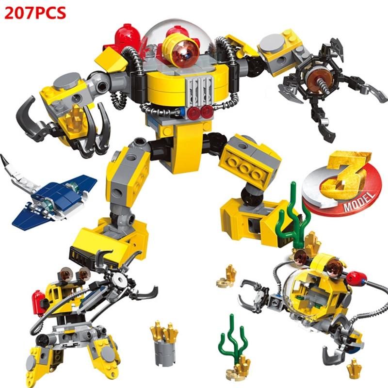 Robot submarino 3 en 1 experto creador, manipulador submarino, modelo de bloques de construcción, juegos de ladrillos clásicos para niños, juguetes de regalo