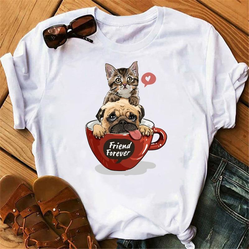 Camiseta de gato Kawaii Luslos, Camiseta con estampado divertido de dibujos animados para mujer, camiseta gráfica Harajuku 90s, camisetas de manga corta de verano para mujer