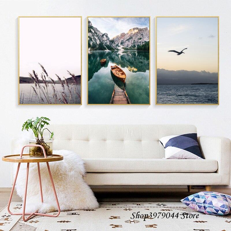 Escandinavo barco lago quadros da arte parede impressão em tela paisagem cartaz nórdico arte da parede fotos para sala de estar decoração sem moldura