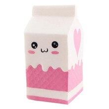 Simulation Squshy Cute Fairytale Slow Rebound PU Milk Box Toy Squishy Authentic Soft White Pink Cartoon Expression Yogurt Box