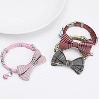 cat collar solid color bowknot puppy chihuahua collars with bell adjustable safety buckle cats bow tie pets accessories pet
