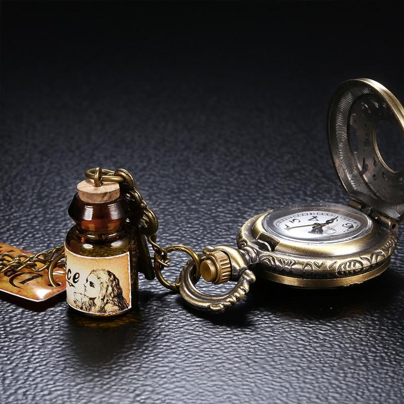 2020 Retro Style Men and Women Pocket Watch Bronze Dial Chinese Style Nostalgic Necklace Pocket Watch Key Pendant Wishing Bottle