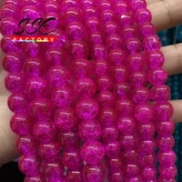 natural stone rose red cracked quartz glass beads round loose beads for jewelry making diy bracelets accessories 8mm 10mm 15