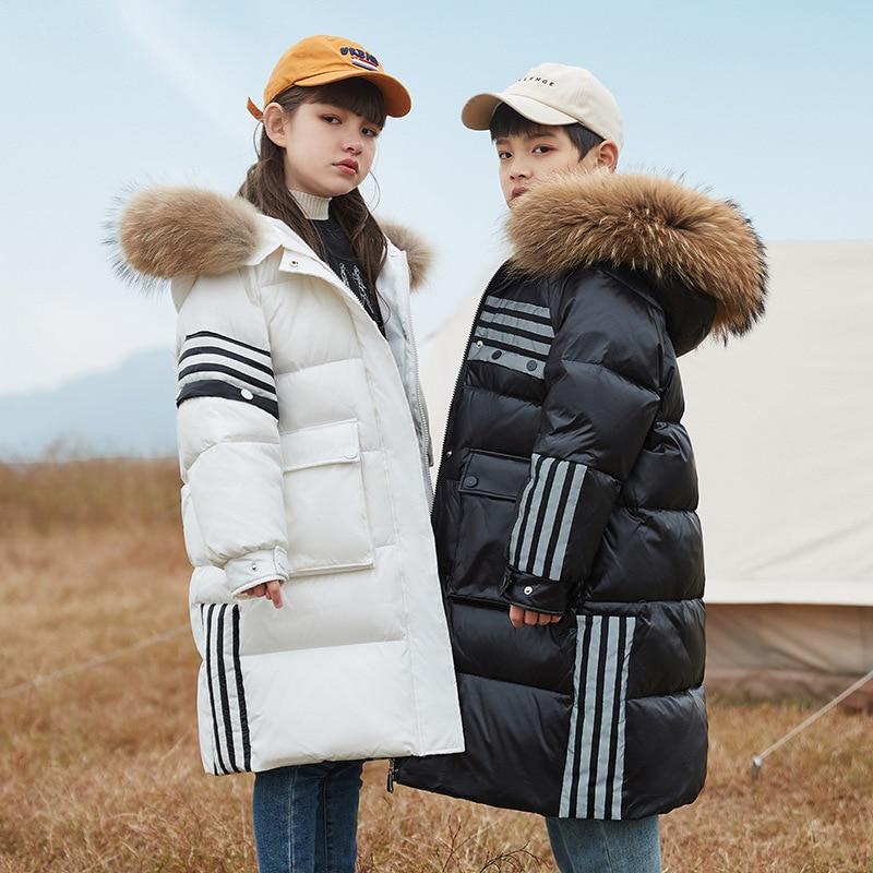 -30 الروسية الشتاء سنوسويت 2021 الفتيات الملابس الدافئة أسفل سترة مقاوم للماء في الهواء الطلق معطف مقنع الأولاد الاطفال معطف الفرو الملابس