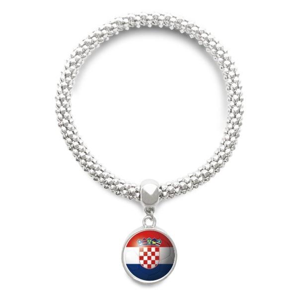 Croatia National Flag Soccer Football Sliver Bracelet Round Pendant Jewelry Chain