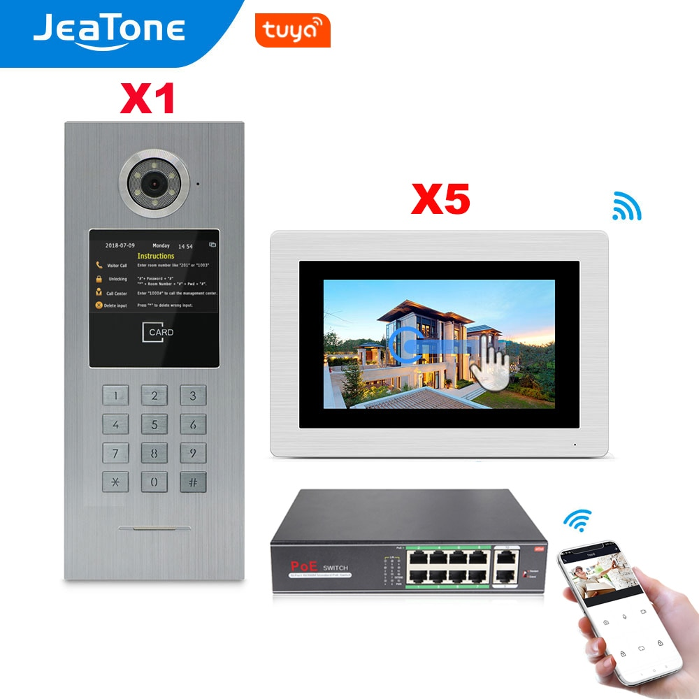 Jeatone 7'' Touch Screen WIFI IP POE Video Door Phone Intercom for 5 Apartments Access Control System Support Password/IC Cards
