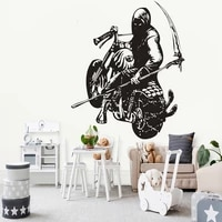 motorcyclist wall sticker motorcross racer decal punk style home decor bedroom living room decoration motorcycle mural skull