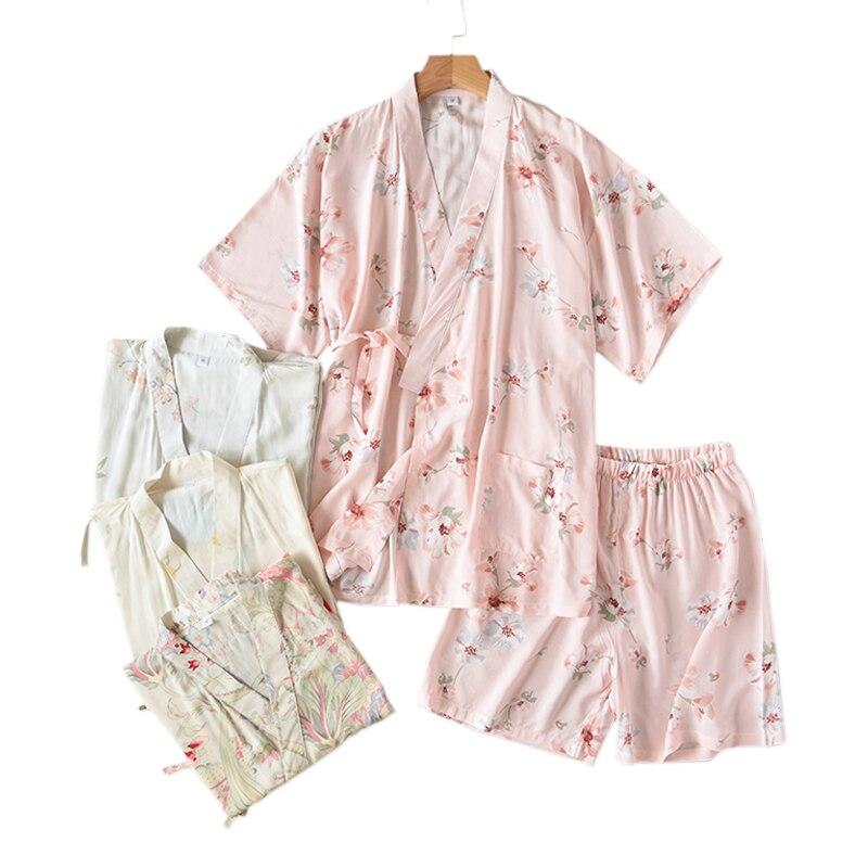 Neue Sommer kühle rayon kimono roben pyjamas sets frauen japanischen lässig frische floral kurzen ärmeln homewear frauen shorts nachtwäsche