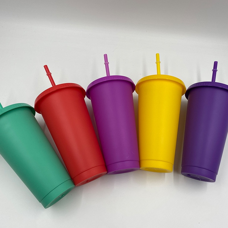Plastic Straw Cup New Multifunctional Christmas Day Straw Bottle Outdoor Portable Cute Water Bottle