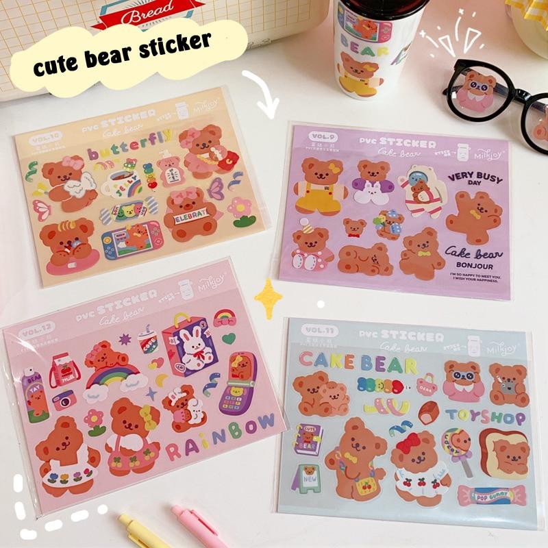 AliExpress - Korea Ins Cartoon Candy Bear Cute Stickers Horizontal Waterproof Seal post it Mobile Phone Stationery Funny Decorative Sticker