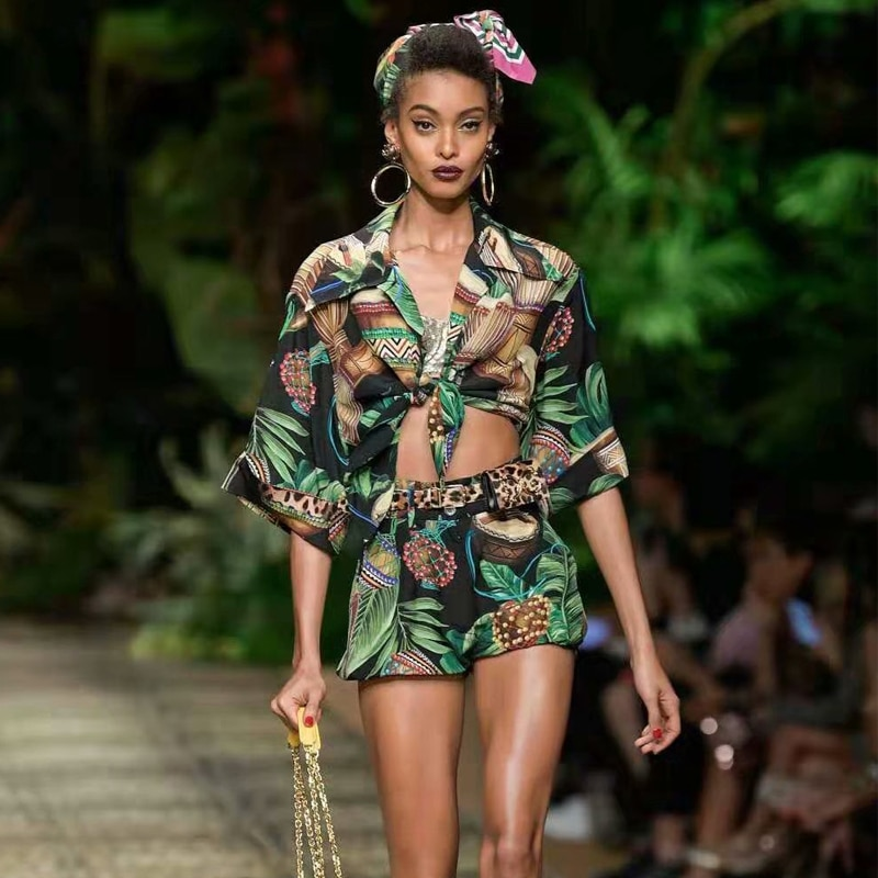 two piece set women Off Shoulder Lace Straps Crop Tops Print High Waist Midi Skirt Women Holiday Beach set 2020 Spring new set