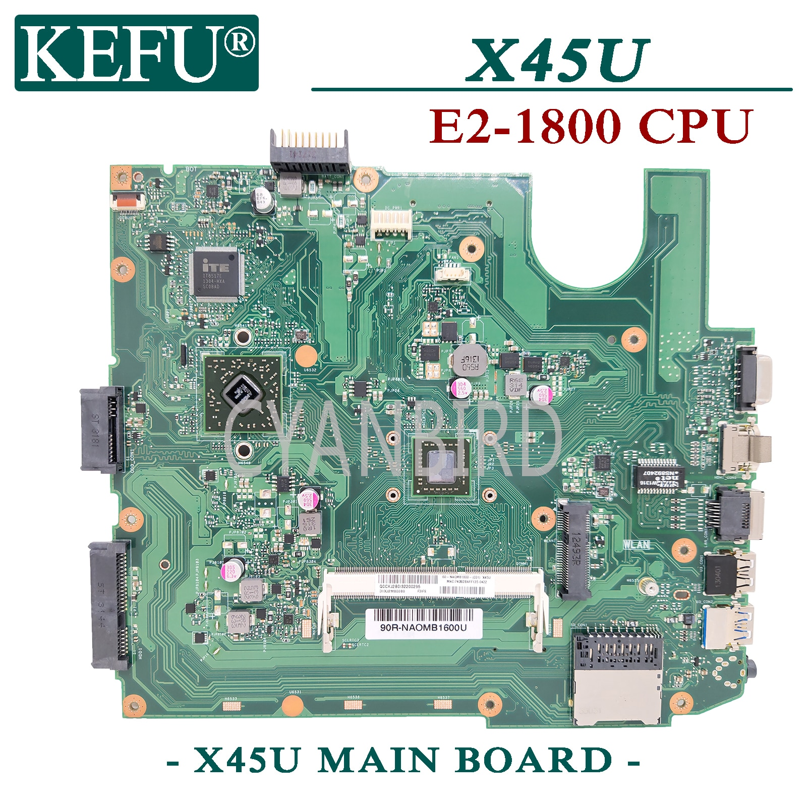 KEFU X45U الأصلي اللوحة الرئيسية لشركة آسوس X45U A45U مع E2-1800 وحدة المعالجة المركزية اللوحة الأم للكمبيوتر المحمول