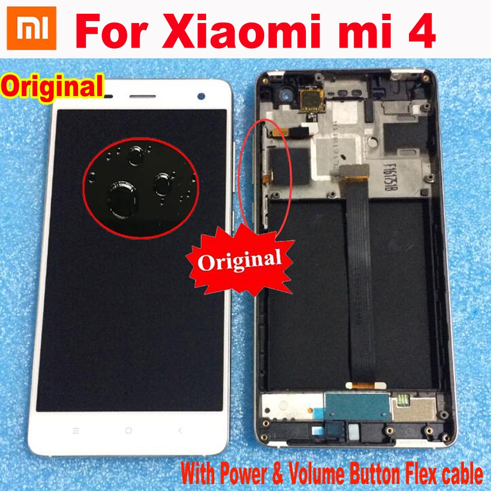 Original New Best LCD Display Touch Screen Digitizer Assembly Glass Sensor with Frame For Xiaomi mi4 m4 Mi 4 Phone Pantalla