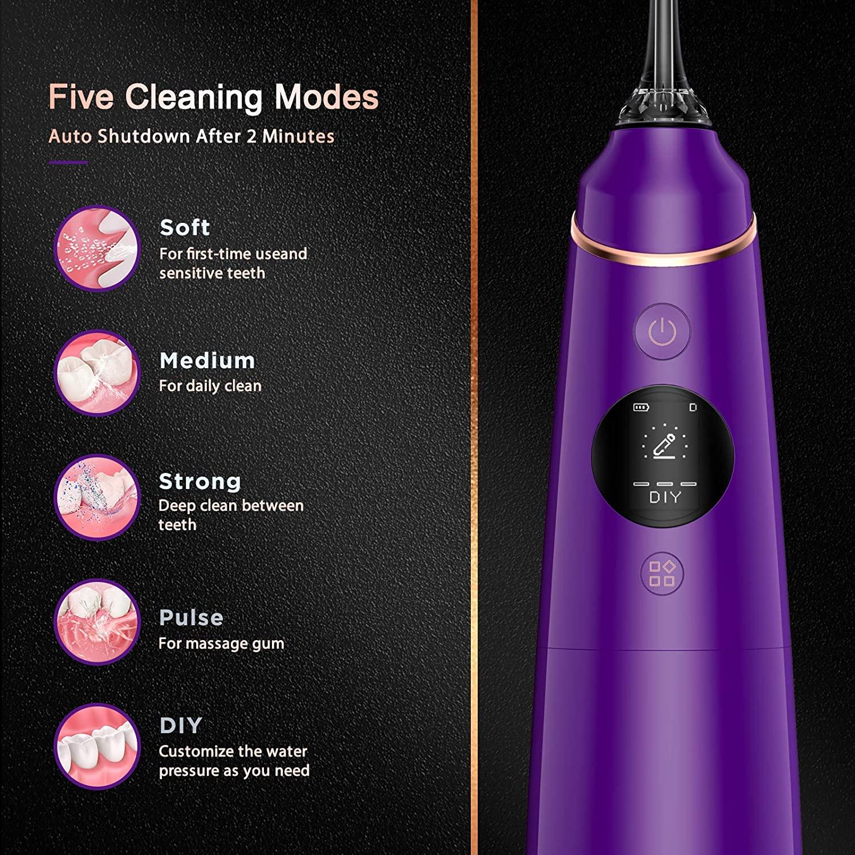 Liberex Electric Oral Irrigator Portable Dental Water Flosser USB Rechargeable Irrigator Dental Water Floss Tips Teeth Cleaner enlarge