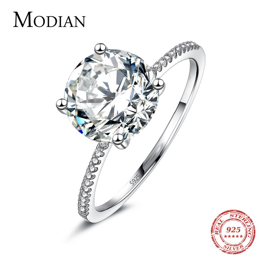 aliexpress.com - 2021 Classic Luxury Real Solid 925 Sterling Silver Ring 3Ct 10 Hearts Arrows Zircon Wedding Jewelry Rings Engagement For Women