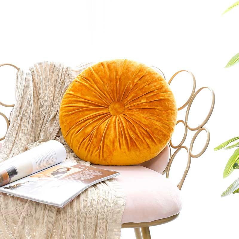 Cojín de asiento con respaldo redondo, cojín de terciopelo para silla de calabaza, almohada de apoyo, cojín de respaldo Longue de 40x40cm