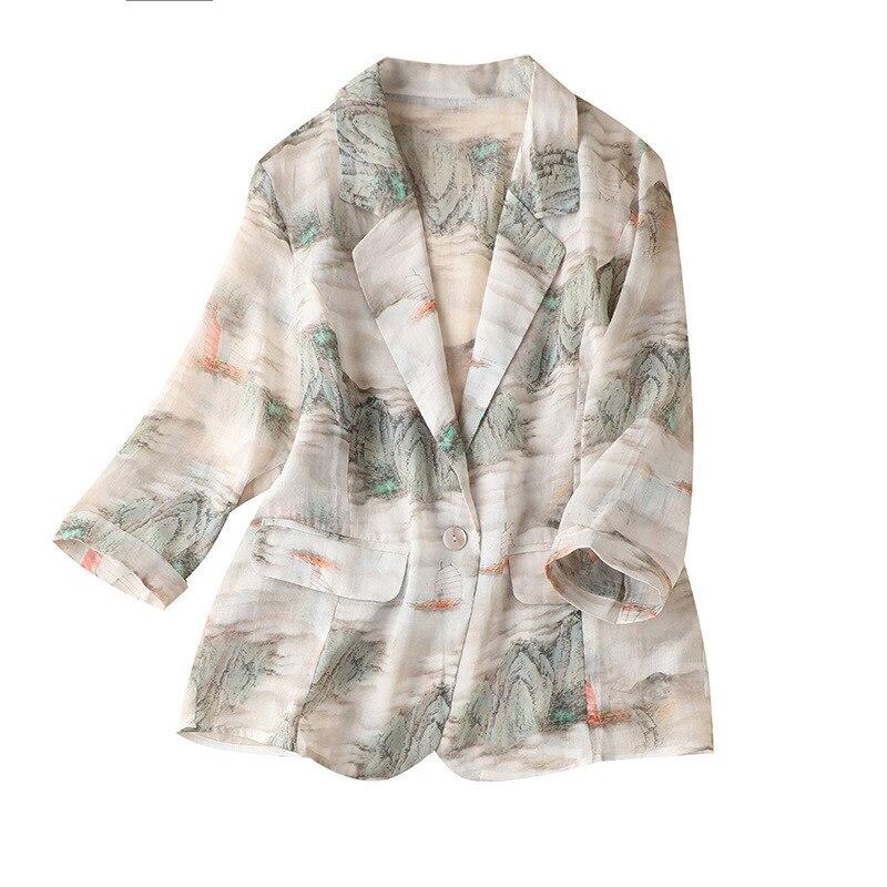 Фото - SHUCHAN Blazers Women  Chinese Style  Summer  Three Quarter Sleeve Ramie  Notched  Single Button  Jackets for Women three women