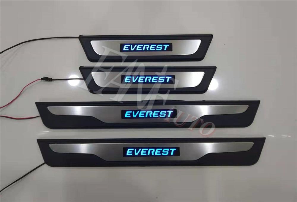 Protector de umbral de puerta Led de acero inoxidable, Protector de placa de desgaste para Ford Everest 2015-2019