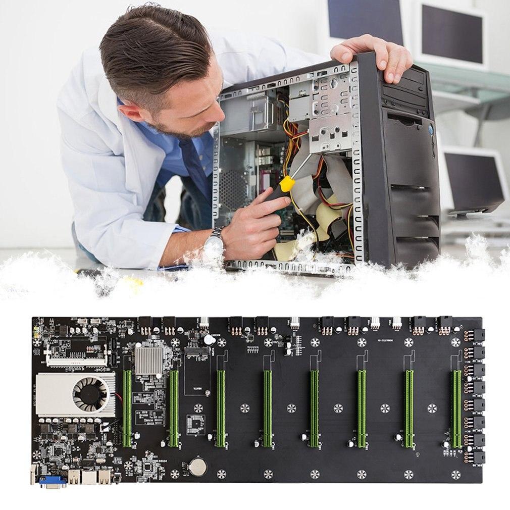 BTC-D37 ريسيرلس التعدين اللوحة 8 GPU بيتكوين التشفير إثيروم التعدين دعم 10600/1600MHz وحدة المعالجة المركزية