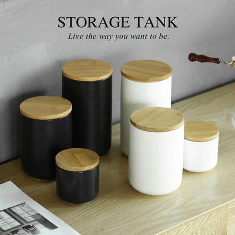 Frasco de cerámica nórdico con tapa de madera para almacenamiento de alimentos y granos de café, decoración de escritorio, contenedor de cereales