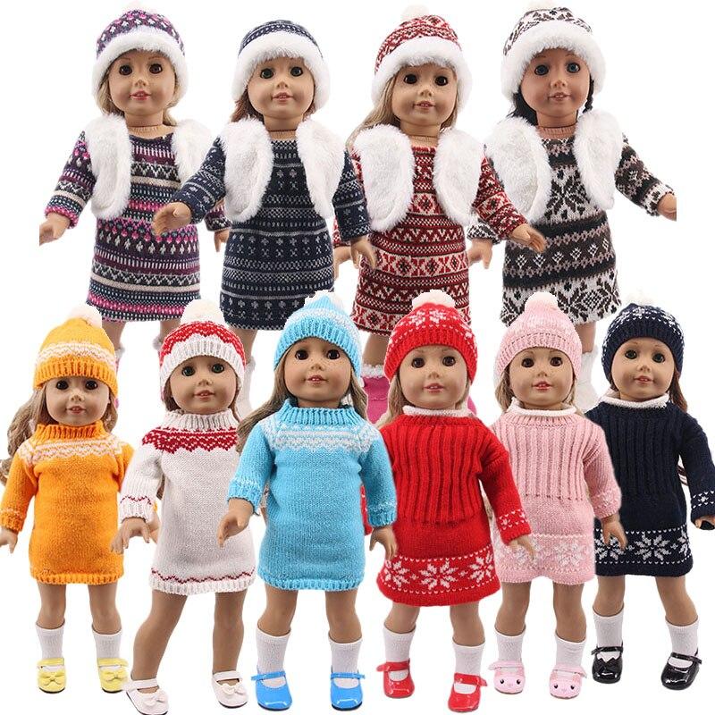 LUCKDOLL новый зимний свитер платье подходит 18 дюймов Американский 43 см Кукла одежда аксессуары, игрушки для девочек, поколение, подарок на день рождения